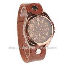 Art- und Weisequarz-echtes Leder-Brown-Farben-Armbanduhr für Männer WL-018