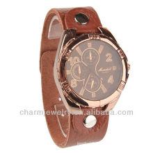Fashion Quartz Montre bracelet en cuir véritable en cuir marron pour hommes WL-018