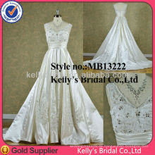 2014 Neuer Art Satin und Spitze V Ansatzkragen Hochzeitskleid Brautjunferkleid