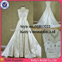 2014 новый стиль атласа и кружева V шеи воротник свадебное платье невесты платье