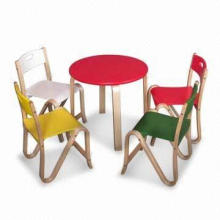 Wooden Table and Chair Set, Available in Different Colors and Designs