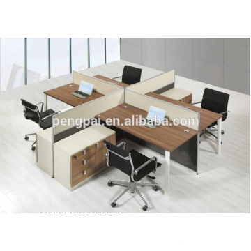 Square 4 seater melamine wooden workstation 04