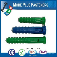 Fabriqué en Taiwan Colored Universal Long Conical Ribbed Plastic Anchor and Wall Plugs