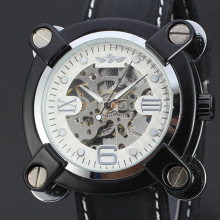 personalized domed watch glass mechanical watch skeleton design