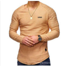 Solid Color Long Sleeve Round Neck Pullover Striped T Shirt
