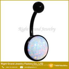 Anel da barriga do umbigo de opala sintético branco grande redonda anodizado de aço anodizado preto da barriga