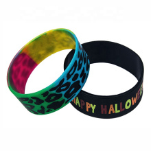 1 Inch Rainbow Pride Color Filled Swirl Silicone Wristbands