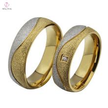 Anéis de casamento de aço inoxidável do ouro 18K da forma 2015, jóia de ouro dos anéis de casamento do ouro do desenhista de Matt