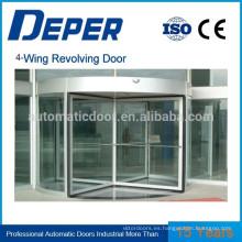 Puerta de vidrio corrediza giratoria automática de cuatro alas (con caja de exposición)