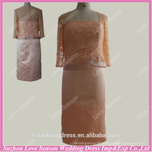 RP0038 mothe of the bride dress half sleeve square neckline satin knee length real sample evening dress pattern