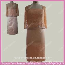 RP0038 mothe da noiva vestido meia manga decote quadrado cetim comprimento do joelho padrão real padrão de vestido de noite