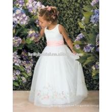 Blanco encantador con los vestidos rosados de los vestidos de los vestidos de flowergirl de la hoja 1009