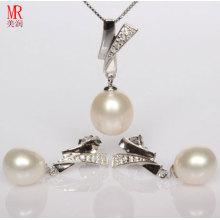 925 Sterling Silber Süßwasser Perle Halskette Set
