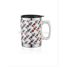 double wall 12oz white ceramic mug