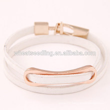 low moq new products2016 sale alloy wrap white bracelet leather