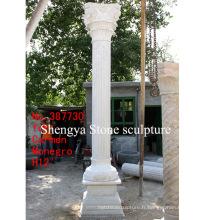 Colonne de sculpture en pierre de marbre blanc (SY-C003)