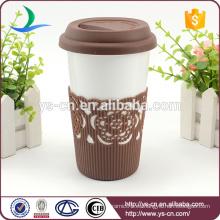 2015 Tazas de café de cerámica de doble pared con tapa de succión