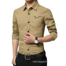 High Quality Men′s Long Sleeve Men in Military Uniform Style Casual Shirt