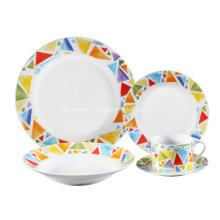 20 morceaux Decal ensemble de dîner de porcelaine, mosaïque de couleur