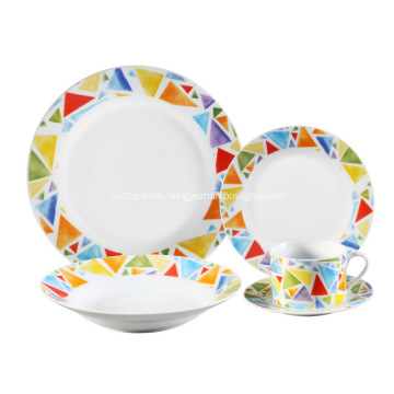 20 Piece Decal Porcelain Dinner Set,Color Mosaic