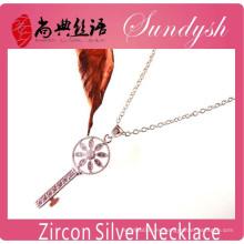 Sparking Jewelry Handmdade CZ microinsertos plata clave colgante CZ collar