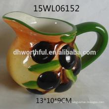 Pot en laiton en céramique 2016 avec figurine d'olive