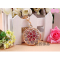 Ladies round hollow plum flower creative gifts crystal Keychain gold plated fashion key ring bag hanger metal pendant