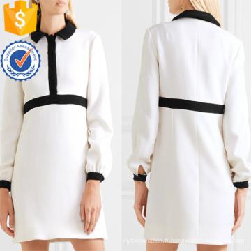 Office Lady Vente chaude Blanc Et Noir À Manches Longues Mini Robe D'été Fabrication En Gros Mode Femmes Vêtements (TA0312D)