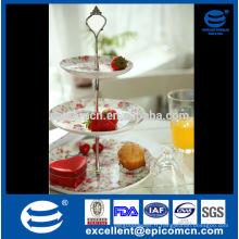 Trois couches belle mauli rose fleur décoratif plat de fruits en céramique, plaque de fruits en céramique