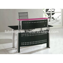 Modern Metal Frame Glass Top Office Front Desk Table (FOH-YTJ-8015)