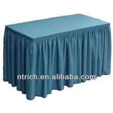 Caixa de pregas tabela saias, saias de mesa poliéster, rodapé de tabela