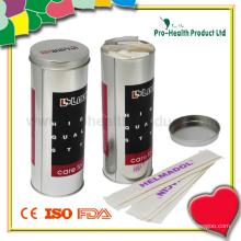 Depressor de língua de madeira em uma caixa de lata (PH1038)