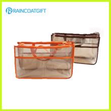 Organizador cosmético Rbc-036 do saco do curso arrumado transparente da inserção do PVC