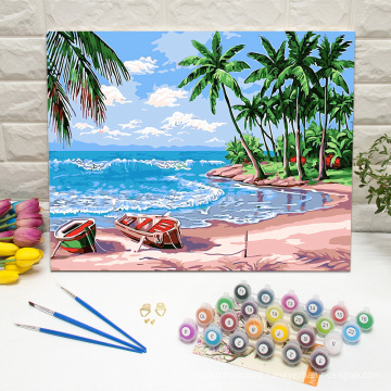 Sunny beach DIY framed wall art paint by numbers for home decoration