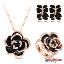 Women Black Crystal Flower Jewelry Sets (ST0003-A)