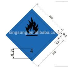 Etiqueta engomada de la clase Harzard libera gas inflamable y cumple con la etiqueta de agua