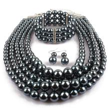 Multi Layers Fake Black Pearl Jewelry Sets