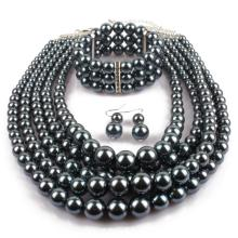 Multi Layer Fake Black Perle Schmuck Sets
