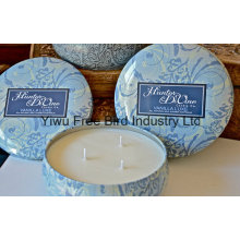 Round Tin Scented Soy 340g Candle with Three Wicks