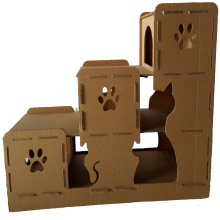 Purchasing for Primary Color Corrugated Paper Cat House Cardboard Cat Playhouse for cat toys supply to St. Pierre and Miquelon Manufacturers