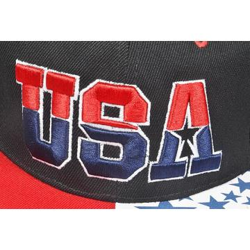 Printing USA Flag Bill Cap 3D Embroidery Logo USA Snapback Hats Flat Bill Cap