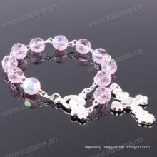 Pink 6mm Ab Section Crystal Rosary Bracelet