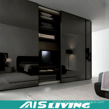 Black Glossy Bedroom Wardrobe with Mirror (AIS-W242)