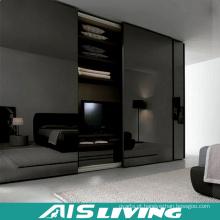 Guarda-roupa brilhante preto do quarto com espelho (AIS-W242)