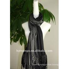 Fashion yarn-dyeing jaquard viscose long scarf