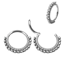 Delicate 316L Surgical Steel New Design Double Layer Zircon Crystal Hinged Nose Ring Nose Piercing Wholesales