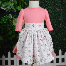 new design printed apron pink dress