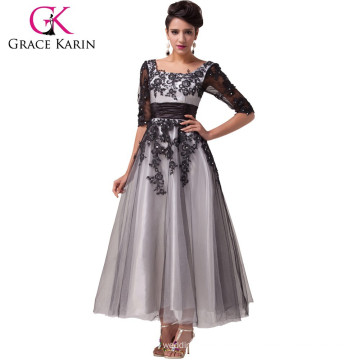Nueva llegada 2015 Grace Karin cuadrado escote manga larga más vestidos de noche de tamaño para las mujeres gordas CL6051-1