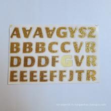 Autocollants faits sur commande mini de lettres adhésives de mots d'AZ, autocollant de scintillement de lettres d'alphabet de cristaux faits sur commande