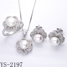 Factory Wholesale 925 Sterling Silver Pearl Jewelry Set.